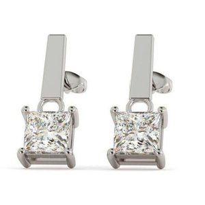 2 Ct Princess Cut Diamond Drop Stud Style Earring